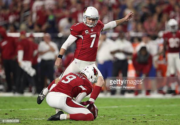 Kicker Chandler Catanzaro of the Arizona Cardinals attempts a field goal against the Seattle Seahawks during the NFL game at the University of...