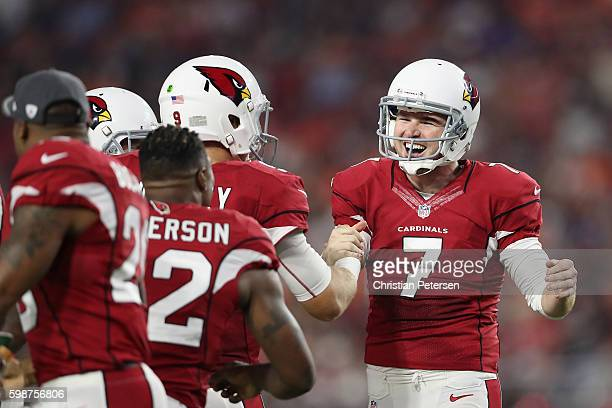 Kicker Chandler Catanzaro of the Arizona Cardinals celebrates after kicking a 59 yard field goal against the Denver Broncos during the preseaon NFL...