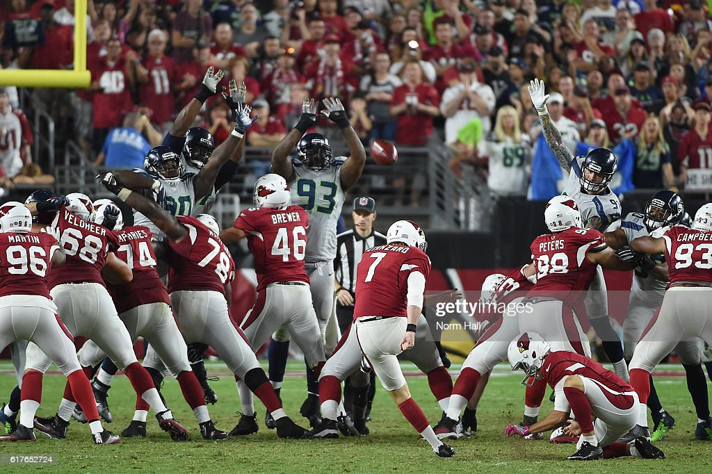 Kicker Chandler Catanzaro #7 of the Arizona Cardinals kicks a 45 yard field goal during overtime against the Seattle Seahawks at University of Phoenix Stadium on October 23, 2016 in Glendale, Arizona. The Seattle Seahawks and Arizona Cardinals tie 6-6.