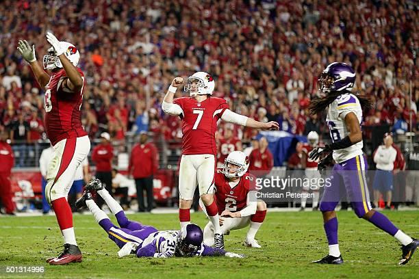 Kicker Chandler Catanzaro of the Arizona Cardinals kicks a 49 yard field goal against the Minnesota Vikings during the fourth quarter of the NFL game...