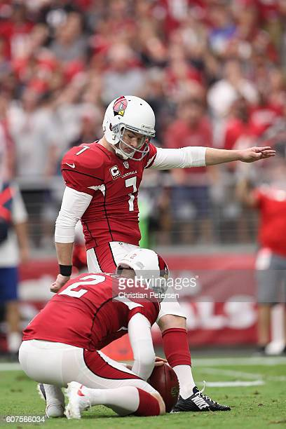 Kicker Chandler Catanzaro of the Arizona Cardinals kicks a field goal during the second quarter of the NFL game against the Tampa Bay Buccaneers at...