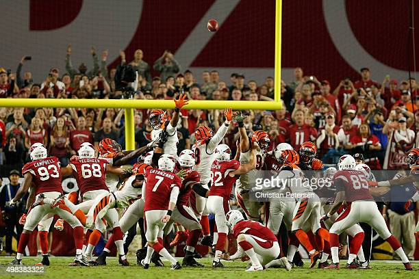 Kicker Chandler Catanzaro of the Arizona Cardinals kicks the game winning field goal during the final moments of the NFL game against the Cincinnati...
