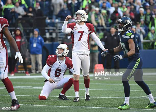 Kicker Chandler Catanzaro of the Arizona Cardinals misses a field goal against the Seattle Seahawks at CenturyLink Field on December 24 2016 in...