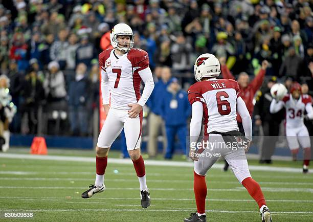 Kicker Chandler Catanzaro of the Arizona Cardinals reacts after kicking the gamewinning field goal against the Seattle Seahawks at CenturyLink Field...