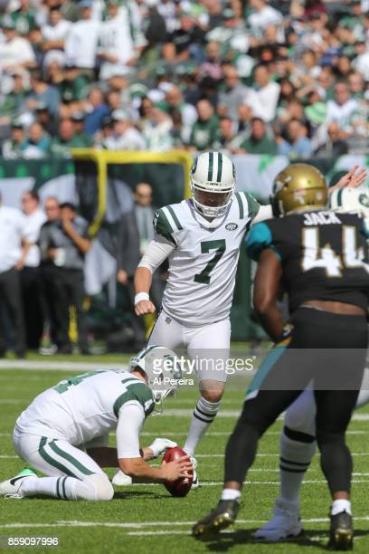 Kicker Chandler Catanzaro of the New York Jets in action against the Jacksonville Jaguars during their game at MetLife Stadium on October 1 2017 in...