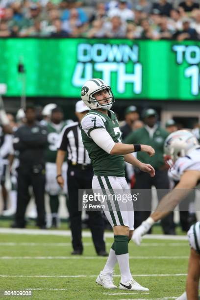 Kicker Chandler Catanzaro of the New York Jets in action against the New England Patriots during their game at MetLife Stadium on October 15 2017 in...