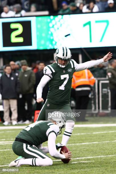 Kicker Chandler Catanzaro of the New York Jets in action against the Carolina Panthers during their game at MetLife Stadium on November 26 2017 in...