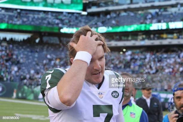 Kicker Chandler Catanzaro of the New York Jets reacts after making the game winning field goal in overtime against the Jacksonville Jaguars during...