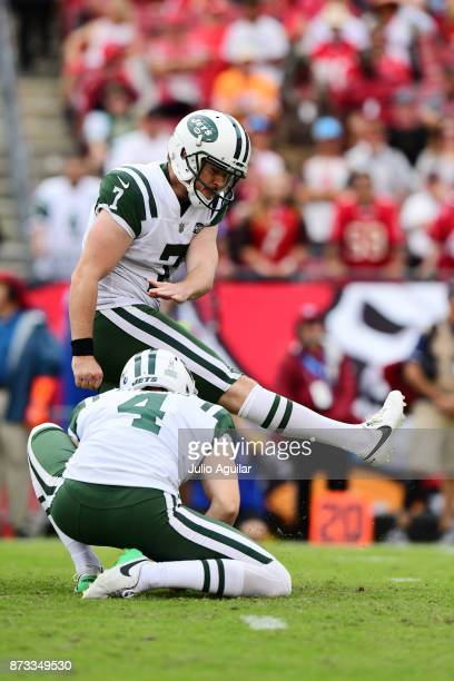 kicker Chandler Catanzaro of the New York Jets scores an extra point late in the fourth quarter on November 12 2017 at Raymond James Stadium in Tampa...