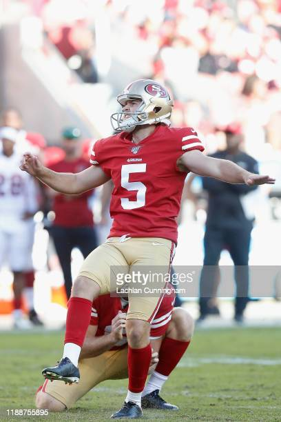 Kicker Chase McLaughlin of the San Francisco 49ers kicks a field goal in the second quarter against the Arizona Cardinals at Levi's Stadium on...