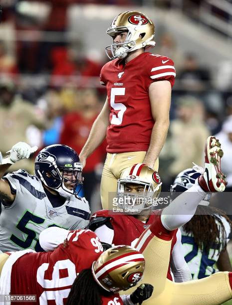 Kicker Chase McLaughlin of the San Francisco 49ers reacts to a missed field goal in overtime against the Seattle Seahawks in the game at Levi's...