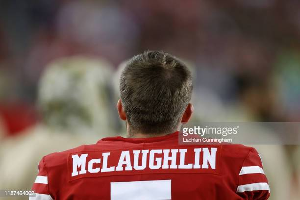 Kicker Chase McLaughlin of the San Francisco 49ers walks along the sideline in the first quarter against the Seattle Seahawks at Levi's Stadium on...