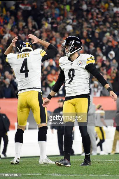 Kicker Chris Boswell and punter Jordan Berry of the Pittsburgh Steelers react to a missed field goal during the game against the Pittsburgh Steelers...