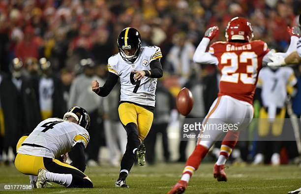 Kicker Chris Boswell of the Pittsburgh Steelers scores the first points of the game against the Kansas City Chiefs kicking a field goal from the hold...