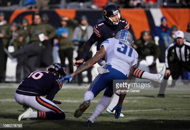 Kicker Cody Parkey of the Chicago Bears misses a field goal in the third quarter against the Detroit Lions at Soldier Field on November 11 2018 in...