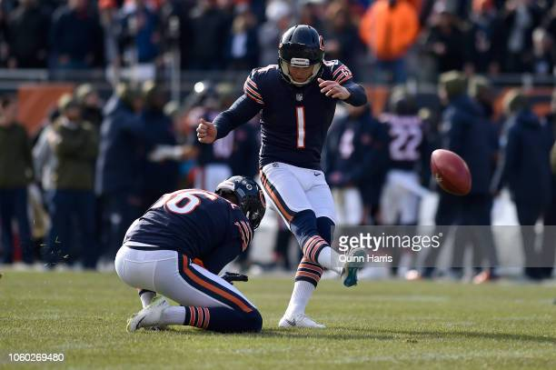 Kicker Cody Parkey of the Chicago Bears misses the field goal during the game against the Detroit Lions at Soldier Field on November 11 2018 in...