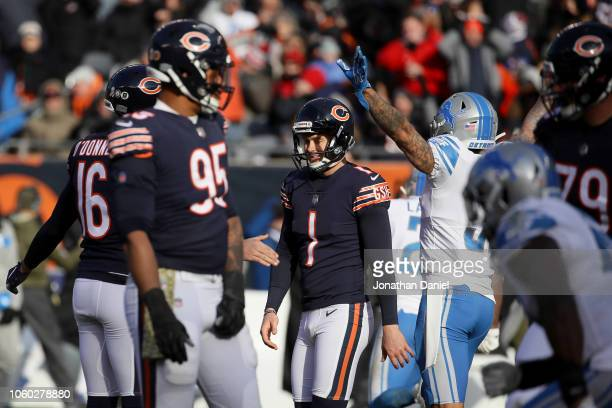 Kicker Cody Parkey of the Chicago Bears reacts after missing a field goal in the third quarter against the Detroit Lions at Soldier Field on November...