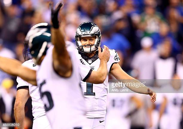 Kicker Cody Parkey of the Philadelphia Eagles celebrates a game winning field goal against the Indianapolis Colts during a game at Lucas Oil Stadium...