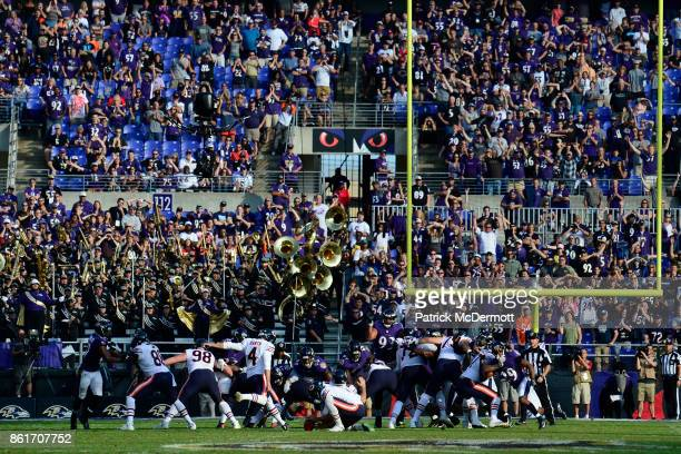 Kicker Connor Barth of the Chicago Bears kicks the game winning field goal in overtime against the Baltimore Ravens at MT Bank Stadium on October 15...