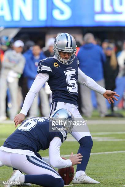 Kicker Dan Bailey of the Dallas Cowboys in action against the New York Giants on December 10 2017 at MetLife Stadium in East Rutherford New Jersey...
