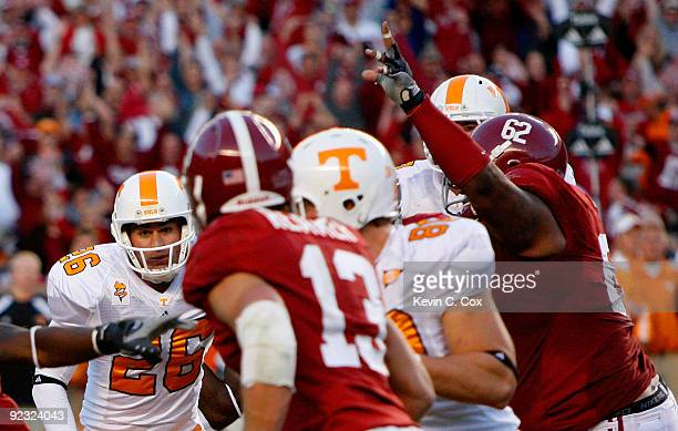 Kicker Daniel Lincoln of the Tennessee Volunteers looks on after having his gamewinning field goal blocked by Terrence Cody of the Alabama Crimson...