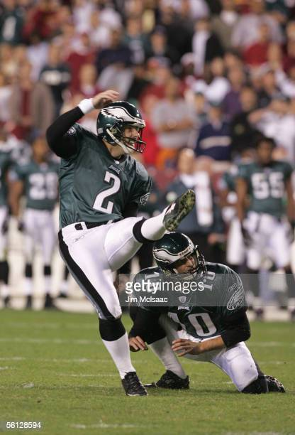 Kicker David Akers of the Philadelphia Eagles kicks a field goal during the game against the Washington Redskins on November 6 2005 at Fed Ex Field...
