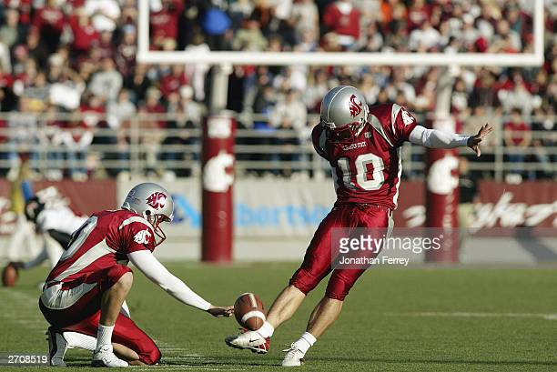 Kicker Drew Dunning of the Washington State University Cougars attempts to score against the Oregon State University Beavers during the Pac10 game at...
