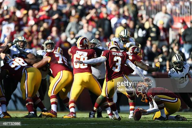 Kicker Dustin Hopkins of the Washington Redskins kicks an extra point against the New Orleans Saints in the second quarter at FedExField on November...