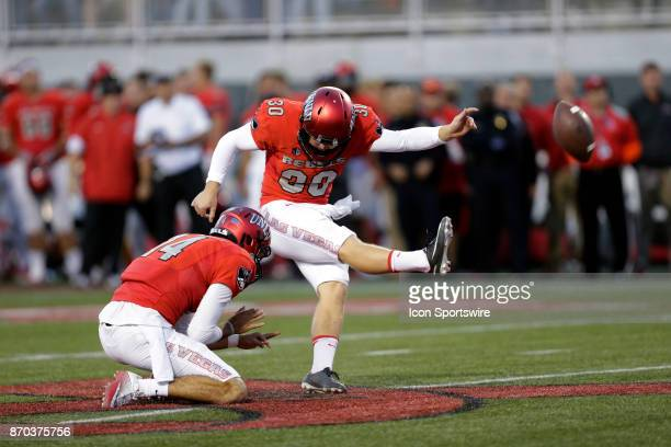 UNLV kicker Evan Pantels attempts to kick a field goal during a game against Hawaii on November 04 at Sam Boyd Stadium in Las Vegas Nevada The UNLV...