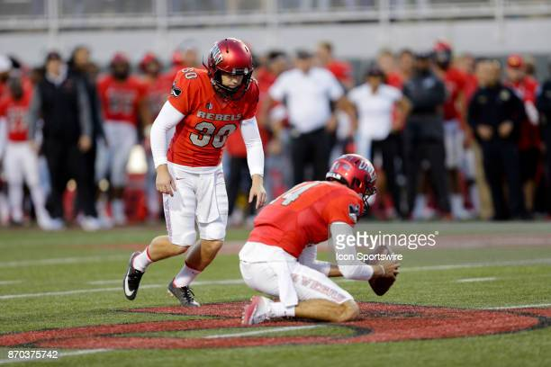 UNLV kicker Evan Pantels lines up to kick a field goal during a game against Hawaii on November 04 at Sam Boyd Stadium in Las Vegas Nevada The UNLV...