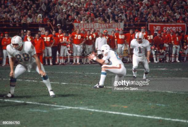 Kicker Garo Yepremian of the Miami Dolphins kicks a field goal against the Kansas City Chiefs during the AFC Divisional Playoff game December 25 1971...
