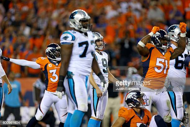 Kicker Graham Gano of the Carolina Panthers reacts after missing a 50yard field on the last play as the Denver Broncos defeat the Panthers 2120 at...