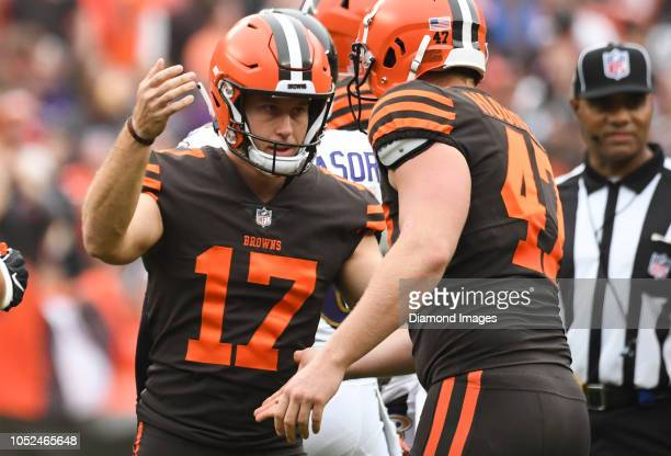 Kicker Greg Joseph of the Cleveland Browns celebrates after a successful field goal attempt in the third quarter of a game against the Baltimore...