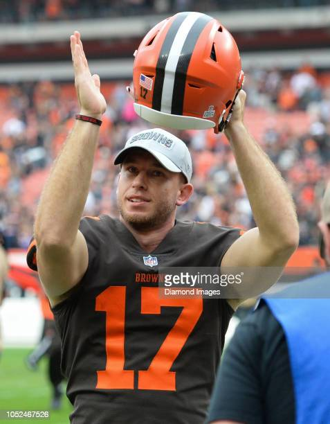 Kicker Greg Joseph of the Cleveland Browns celebrates as he walks off the field after a game against the Baltimore Ravens on October 7 2018 at...
