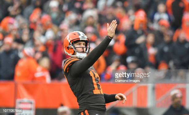 Kicker Greg Joseph of the Cleveland Browns prepares for a field goal attempt in the second quarter of a game against the Cincinnati Bengals on...