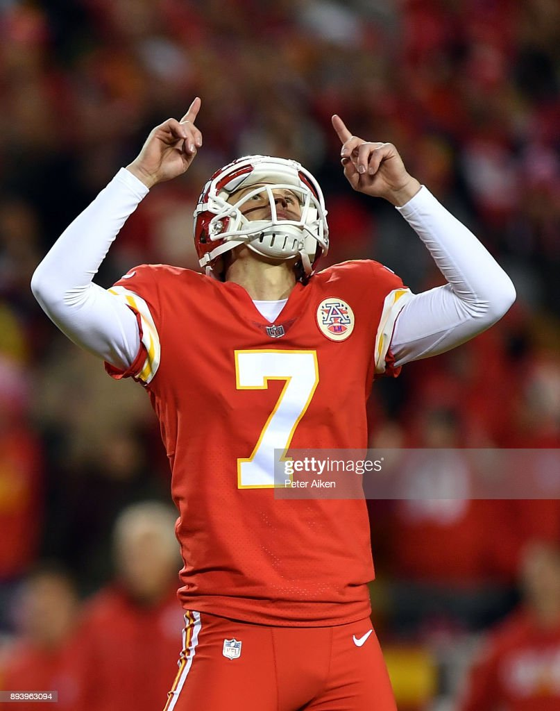 Kicker Harrison Butker #7 of the Kansas City Chiefs celebrates after kicking a field goal during the game against the Los Angeles Chargers at Arrowhead Stadium on December 16, 2017 in Kansas City, Missouri.