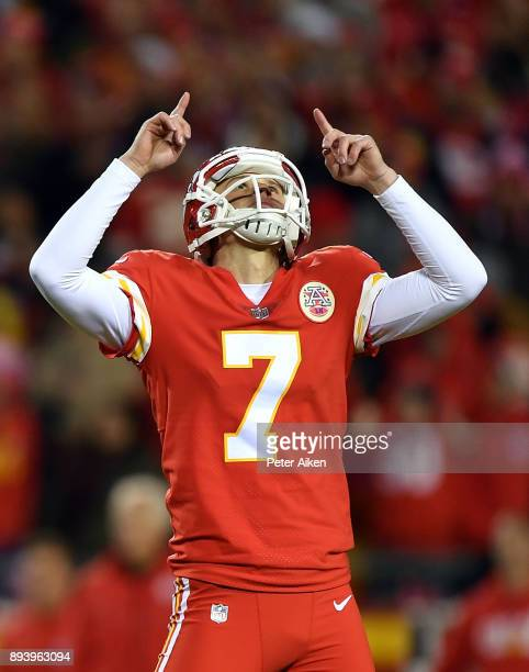 Kicker Harrison Butker of the Kansas City Chiefs celebrates after kicking a field goal during the game against the Los Angeles Chargers at Arrowhead...