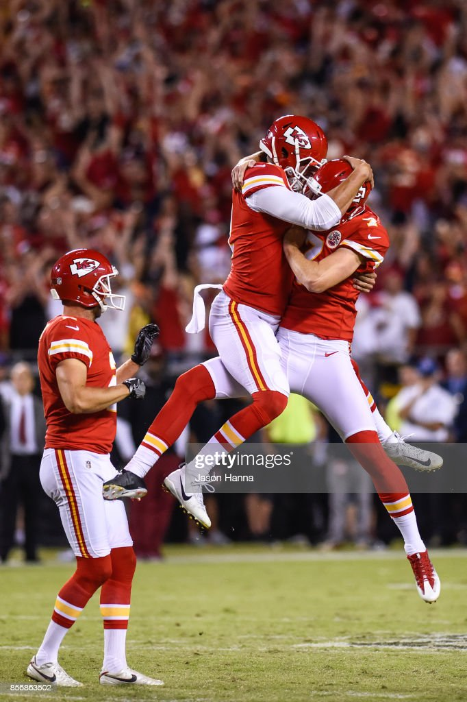 Kicker Harrison Butker #7 of the Kansas City Chiefs celebrates with long snapper James Winchester #41 of the Kansas City Chiefs after kicking a go ahead field goal with eight seconds left during the game against the Washington Redskins at Arrowhead Stadium on October 2, 2017 in Kansas City, Missouri.