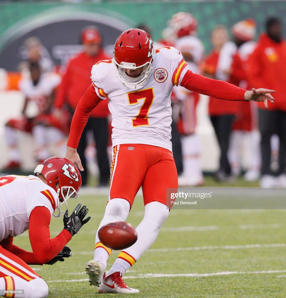 Kicker Harrison Butker #7 of the Kansas City Chiefs kicks a field goal in an NFL football game against the New York Jets on December 3, 2017 at MetLife Stadium in East Rutherford, New Jersey. Jets won 38-31.