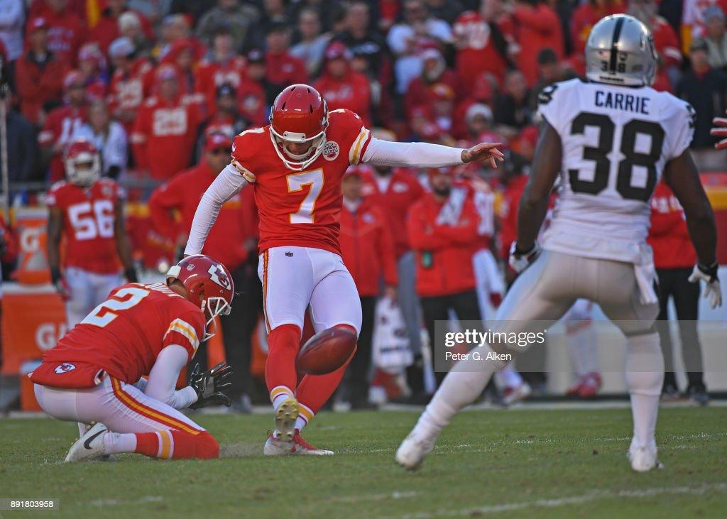 Kicker Harrison Butker #7 of the Kansas City Chiefs kicks a field goal against the Oakland Raiders during the first half at Arrowhead Stadium on December 10, 2017 in Kansas City, Missouri.