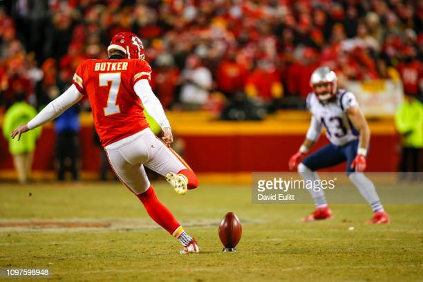 Kicker Harrison Butker of the Kansas City Chiefs kicks off to the New England Patriots in overtime in the AFC Championship Game at Arrowhead Stadium...