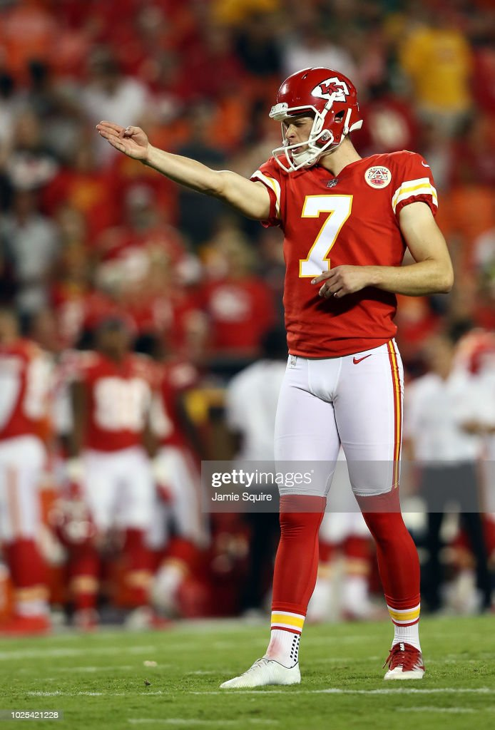 Kicker Harrison Butker #7 of the Kansas City Chiefs prepares to kick a field goal during the preseason game against the Green Bay Packers at Arrowhead Stadium on August 30, 2018 in Kansas City, Missouri.