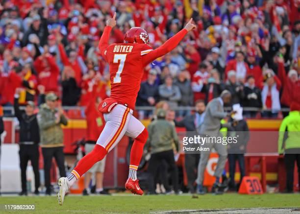 Kicker Harrison Butker of the Kansas City Chiefs reacts after kicking a 44yard field goal to beat the Minnesota Vikings 2623 at Arrowhead Stadium on...