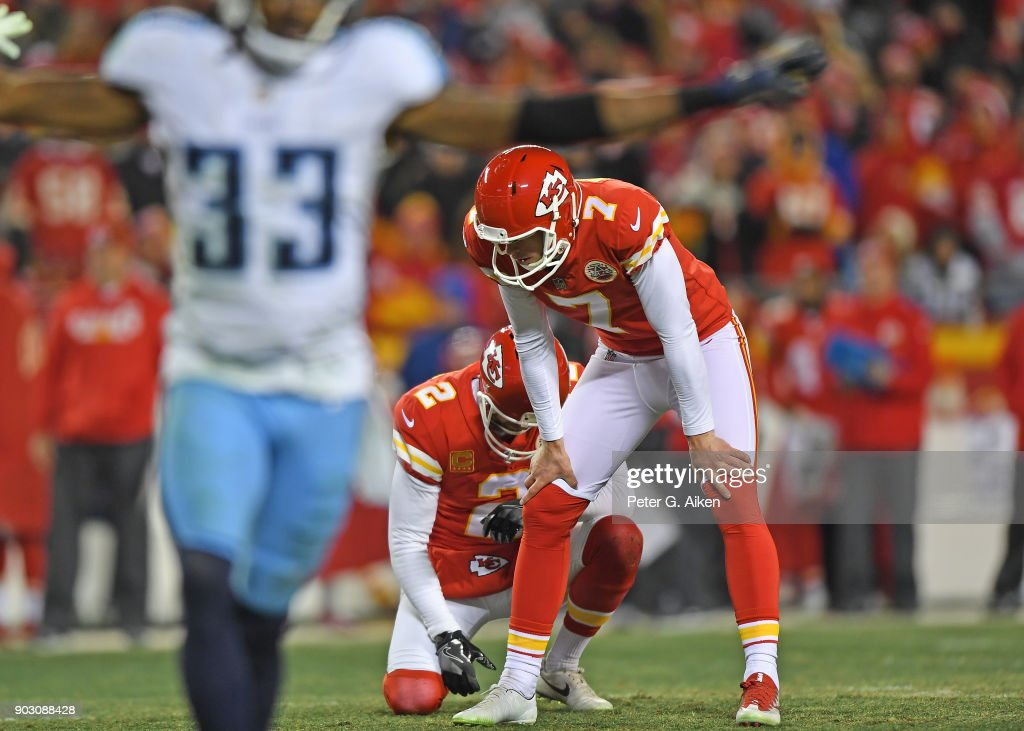 Kicker Harrison Butker #7 of the Kansas City Chiefs reacts after missing a field goal during the second half of the game against the Tennessee Titans at Arrowhead Stadium on January 6, 2018 in Kansas City, Missouri.