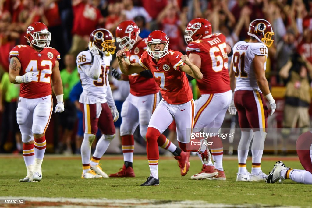 Kicker Harrison Butker #7 of the Kansas City Chiefs turns and celebrates after kicking the go ahead field goal with eight seconds left during the game against the Washington Redskins at Arrowhead Stadium on October 2, 2017 in Kansas City, Missouri.