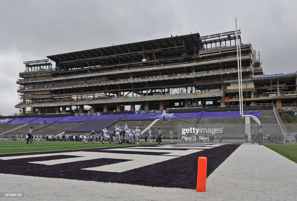 Kicker Jack Cantele #3 of the Kansas State Wildcats kicks a extra point, while construction on the new press box on the west side of Bill Snyder Family Stadium is underway, during the Purple and White Spring Game on April 27, 2013 at Bill Snyder Family Stadium in Manhattan, Kansas.