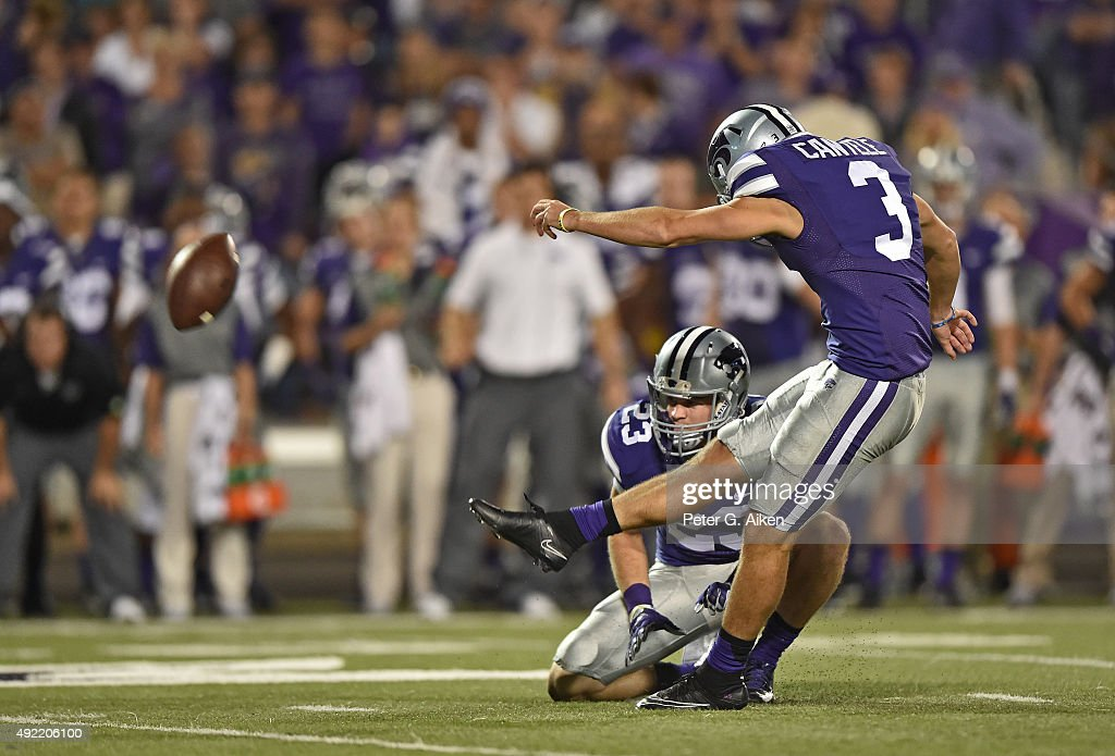 Kicker Jack Cantele #3 of the Kansas State Wildcats kicks the game tying field goal against the TCU Horned Frogs during the second half on October 10, 2015 at Bill Snyder Family Stadium in Manhattan, Kansas.