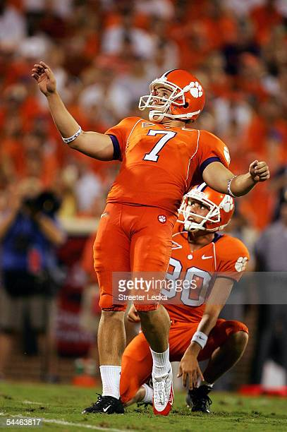Kicker Jad Dean and teammate holder Cole Chason of the Clemson Tigers watch one of his six field goals made during their game against the Texas A&M...