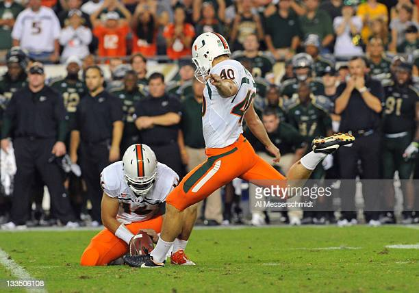 Kicker Jake Wieclaw of the Miami Hurricanes converts a 36-yard field goal with no time remaining in the fourth quarter for a 6 - 3 win against the...