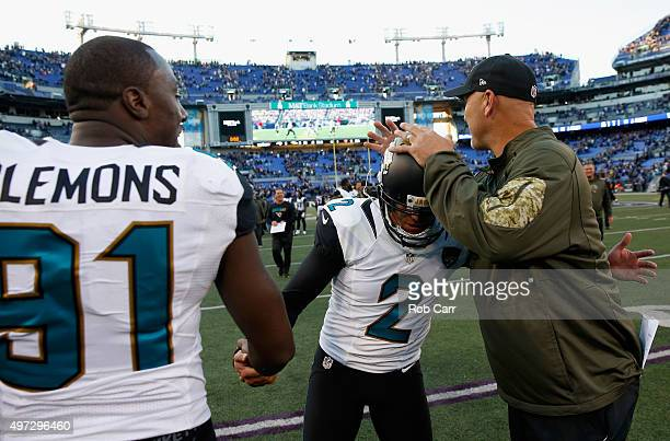 Kicker Jason Myers of the Jacksonville Jaguars is congratulated by Chris Clemons and head coach Gus Bradley after kicking the game winning field goal...